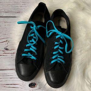 Converse Low Top All Black Contrast Blue Laces